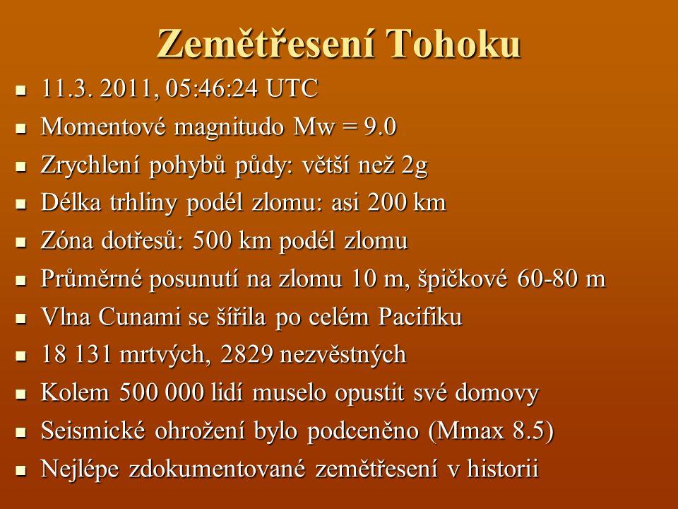 Zemětřesení Tohoku 11.3. 2011, 05:46:24 UTC 11.3. 2011, 05:46:24 UTC Momentové magnitudo Mw = 9.0 Momentové magnitudo Mw = 9.0 Zrychlení pohybů půdy: