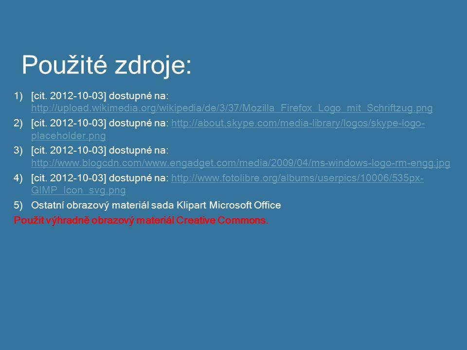 Použité zdroje: 1)[cit. 2012-10-03] dostupné na: http://upload.wikimedia.org/wikipedia/de/3/37/Mozilla_Firefox_Logo_mit_Schriftzug.png http://upload.w