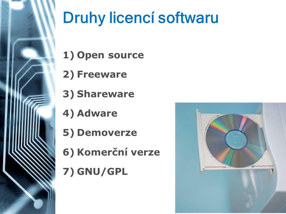 Druhy licencí softwaru 1)Open source 2)Freeware 3)Shareware 4)Adware 5)Demoverze 6)Komerční verze 7)GNU/GPL