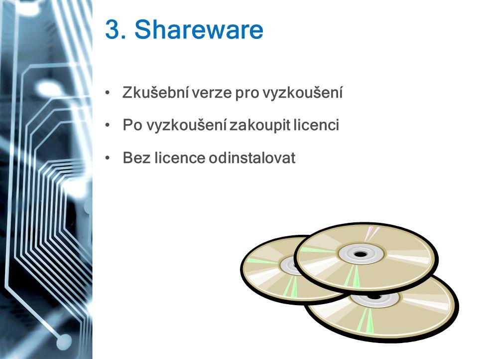3. Shareware Zkušební verze pro vyzkoušení Po vyzkoušení zakoupit licenci Bez licence odinstalovat