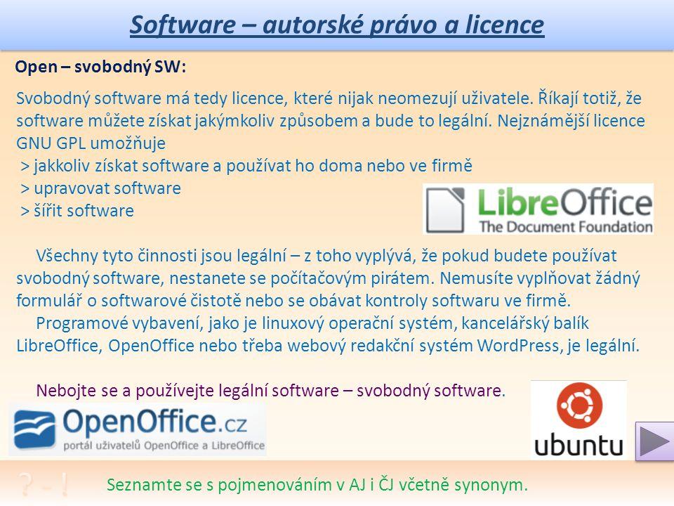Software – autorské právo a licence Seznamte se s pojmenováním v AJ i ČJ včetně synonym.