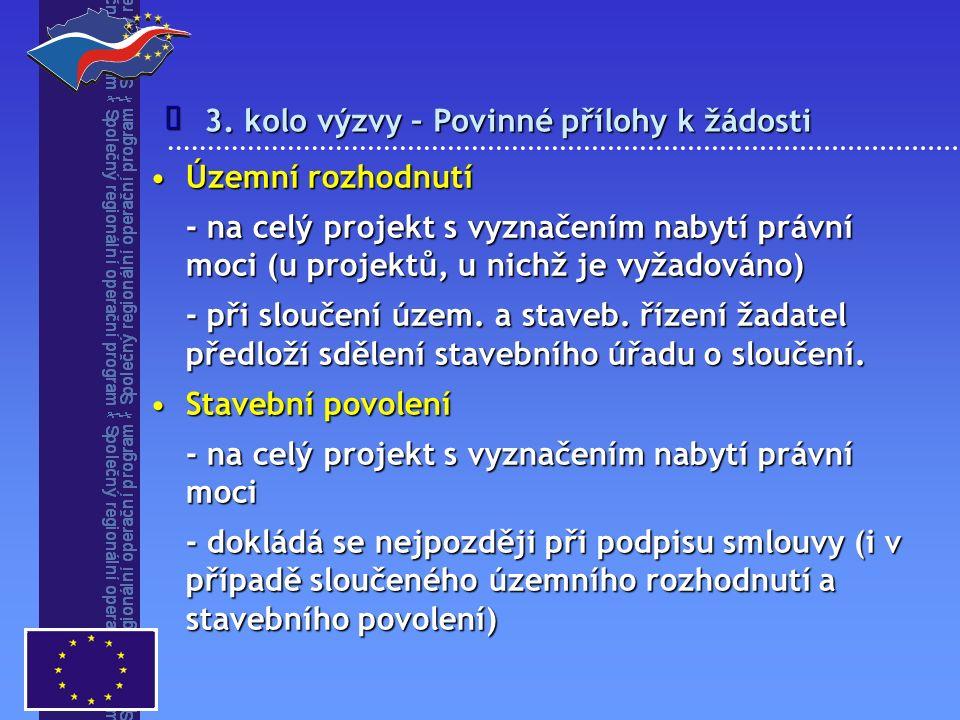 3. kolo výzvy – Povinné přílohy k žádosti  Územní rozhodnutíÚzemní rozhodnutí - na celý projekt s vyznačením nabytí právní moci (u projektů, u nichž