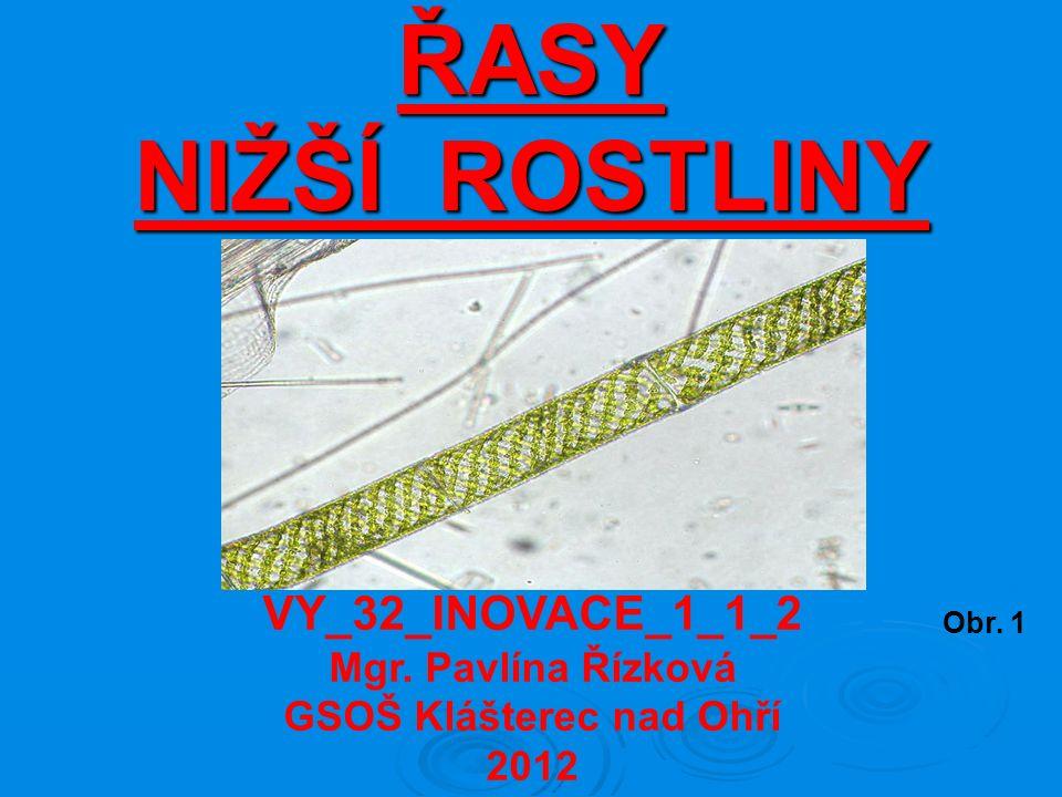 ŘASY NIŽŠÍ ROSTLINY Obr. 1 VY_32_INOVACE_1_1_2 Mgr. Pavlína Řízková GSOŠ Klášterec nad Ohří 2012