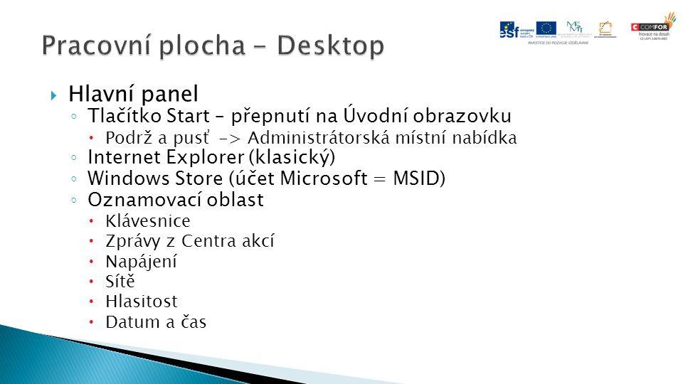  Hlavní panel ◦ Tlačítko Start – přepnutí na Úvodní obrazovku  Podrž a pusť -> Administrátorská místní nabídka ◦ Internet Explorer (klasický) ◦ Wind