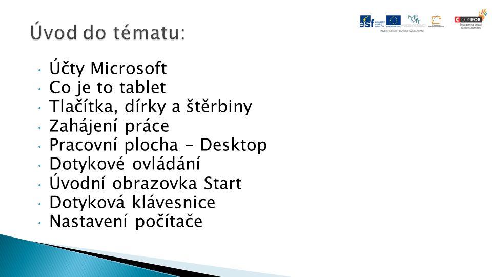 Účty Microsoft Co je to tablet Tlačítka, dírky a štěrbiny Zahájení práce Pracovní plocha - Desktop Dotykové ovládání Úvodní obrazovka Start Dotyková klávesnice Nastavení počítače