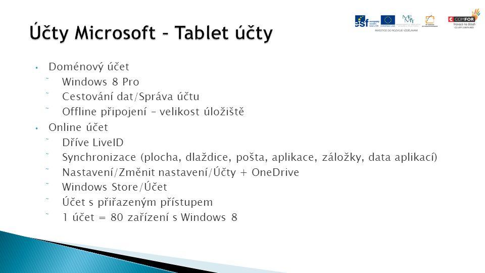 Doménový účet  Windows 8 Pro  Cestování dat/Správa účtu  Offline připojení – velikost úložiště Online účet  Dříve LiveID  Synchronizace (plocha, dlaždice, pošta, aplikace, záložky, data aplikací)  Nastavení/Změnit nastavení/Účty + OneDrive  Windows Store/Účet  Účet s přiřazeným přístupem  1 účet = 80 zařízení s Windows 8