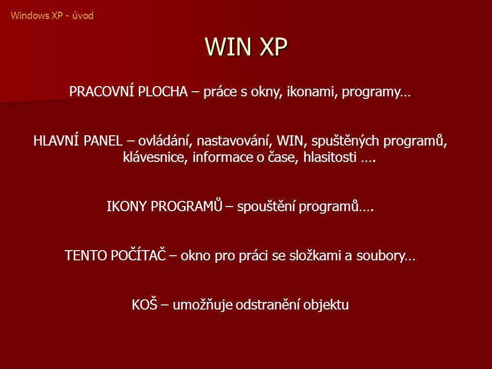 WIN XP PRACOVNÍ PLOCHA – práce s okny, ikonami, programy… HLAVNÍ PANEL – ovládání, nastavování, WIN, spuštěných programů, klávesnice, informace o čase, hlasitosti ….