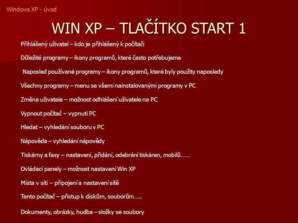 WIN XP – TLAČÍTKO START 1 Přihlášený uživatel – kdo je přihlášený k počítači Důležité programy – ikony programů, které často potřebujeme Naposled používané programy – ikony programů, které byly použity naposledy Všechny programy – menu se všemi nainstalovanými programy v PC Změna uživatele – možnost odhlášení uživatele na PC Vypnout počítač – vypnutí PC Hledat – vyhledání souboru v PC Nápověda – vyhledání nápovědy Tiskárny a faxy – nastavení, přidání, odebrání tiskáren, mobilů…… Ovládací panely – možnost nastavení Win XP Místa v síti – připojení a nastavení sítě Tento počítač – přístup k diskům, souborům…..