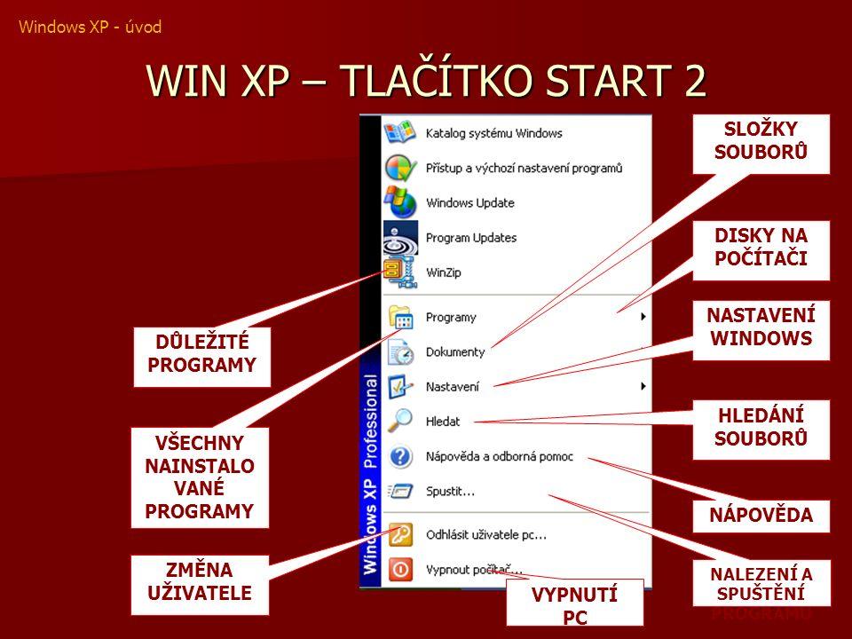 WIN XP – TLAČÍTKO START 2 SLOŽKY SOUBORŮ DISKY NA POČÍTAČI NASTAVENÍ WINDOWS DŮLEŽITÉ PROGRAMY VŠECHNY NAINSTALO VANÉ PROGRAMY ZMĚNA UŽIVATELE NÁPOVĚDA HLEDÁNÍ SOUBORŮ NALEZENÍ A SPUŠTĚNÍ PROGRAMU VYPNUTÍ PC Windows XP - úvod