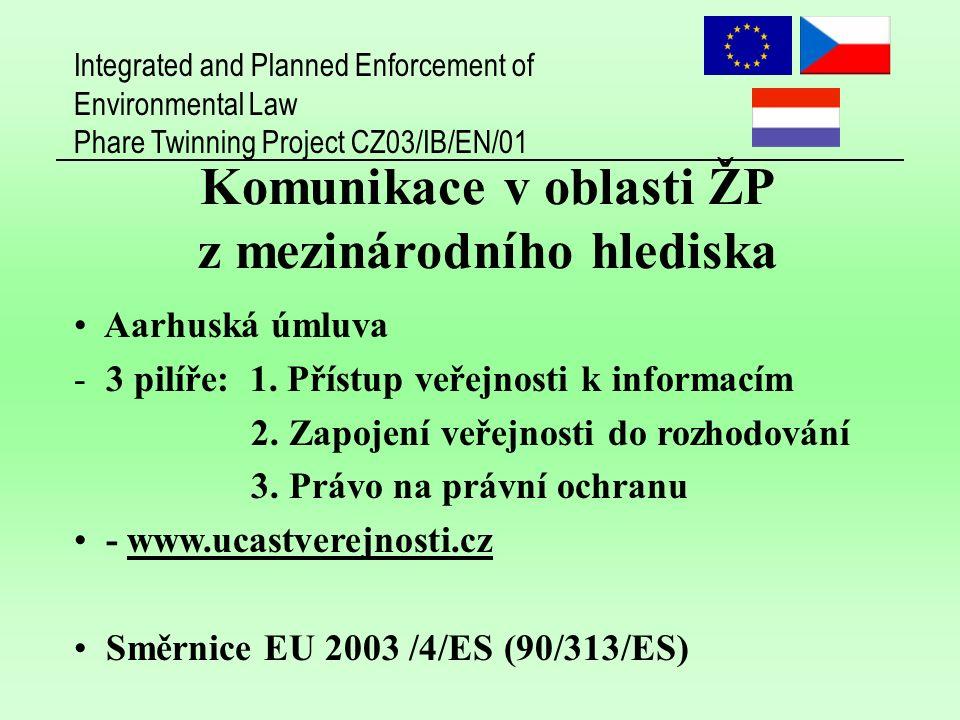 Integrated and Planned Enforcement of Environmental Law Phare Twinning Project CZ03/IB/EN/01 Komunikace v oblasti ŽP z mezinárodního hlediska Aarhuská úmluva - 3 pilíře: 1.