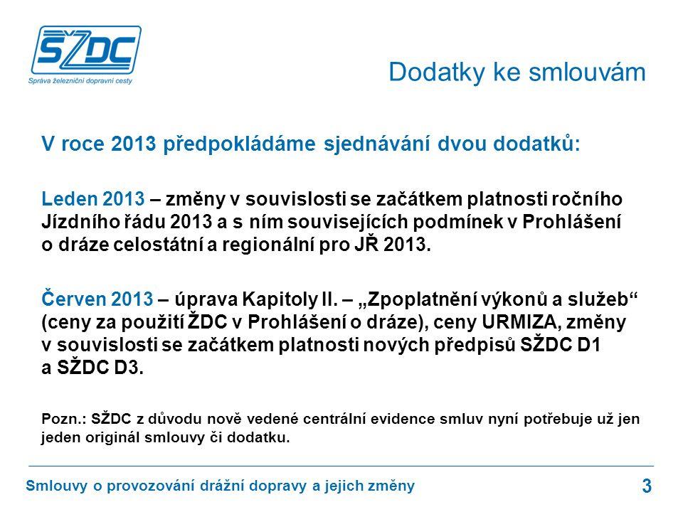 V roce 2013 předpokládáme sjednávání dvou dodatků: Leden 2013 – změny v souvislosti se začátkem platnosti ročního Jízdního řádu 2013 a s ním souvisejících podmínek v Prohlášení o dráze celostátní a regionální pro JŘ 2013.