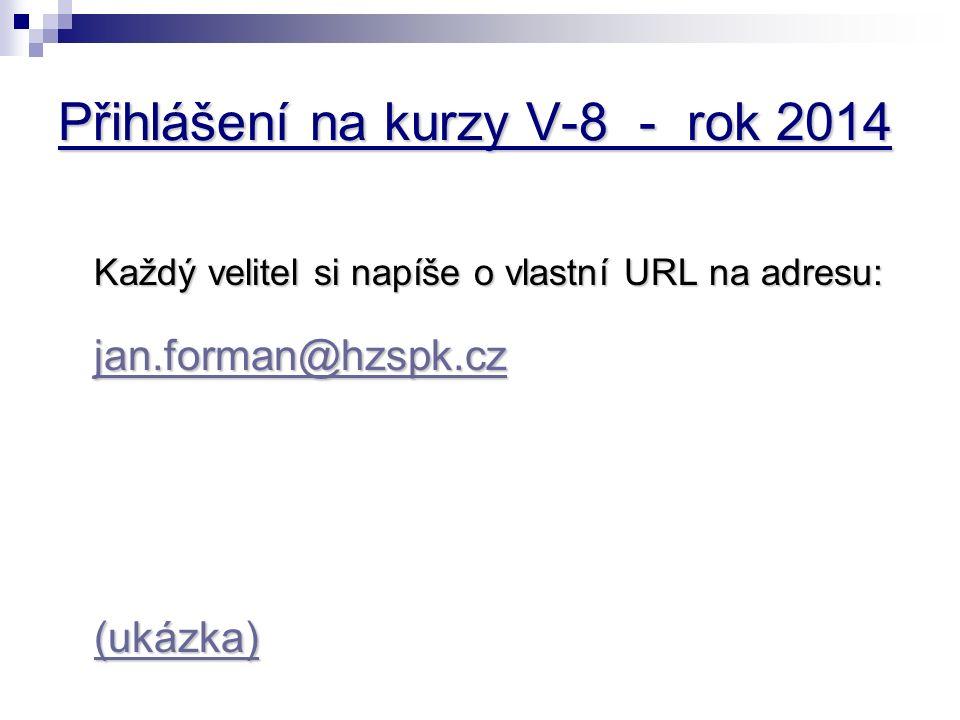 Přihlášení na kurzy V-8 - rok 2014 Každý velitel si napíše o vlastní URL na adresu: jan.forman@hzspk.cz jan.forman@hzspk.cz (ukázka)