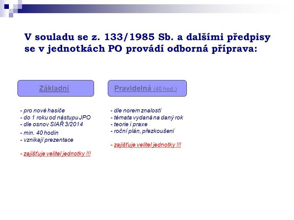 V souladu se z. 133/1985 Sb. a dalšími předpisy se v jednotkách PO provádí odborná příprava: ZákladníPravidelná (40 hod.) - pro nové hasiče - do 1 rok
