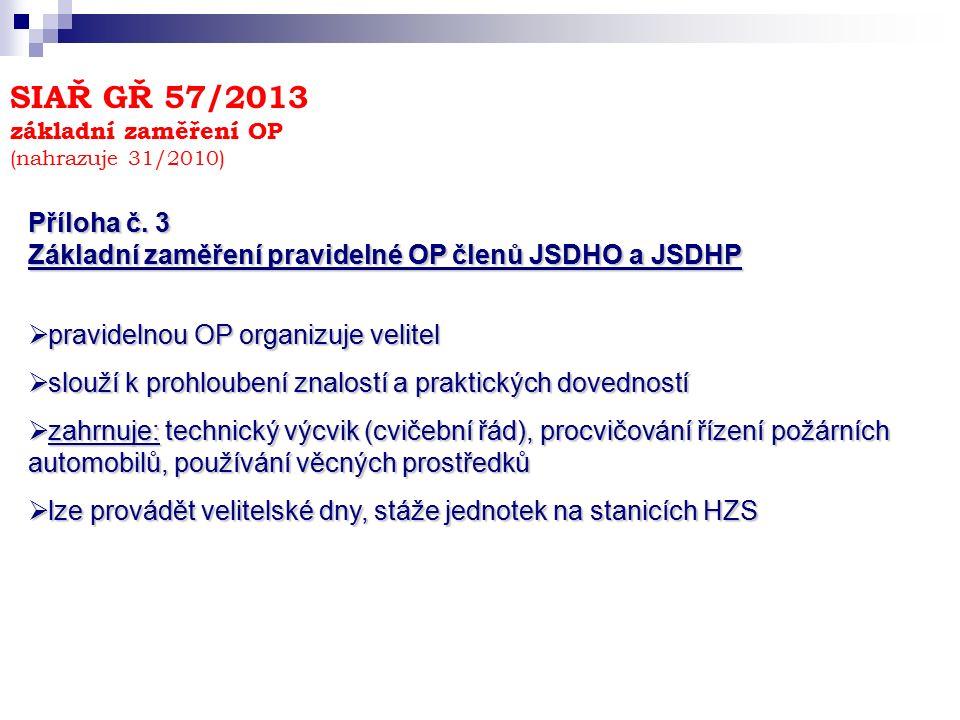 SIAŘ GŘ 57/2013 základní zaměření OP (nahrazuje 31/2010) Příloha č. 3 Základní zaměření pravidelné OP členů JSDHO a JSDHP  pravidelnou OP organizuje