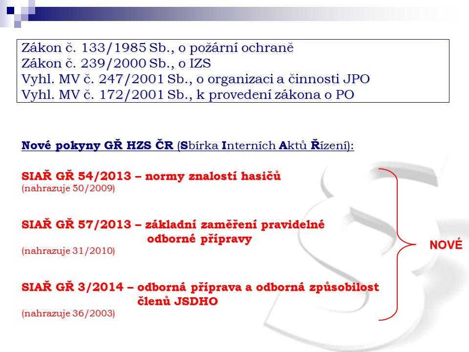 Zákon č. 133/1985 Sb., o požární ochraně Zákon č. 239/2000 Sb., o IZS Vyhl. MV č. 247/2001 Sb., o organizaci a činnosti JPO Vyhl. MV č. 172/2001 Sb.,