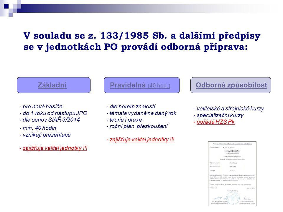 V souladu se z. 133/1985 Sb. a dalšími předpisy se v jednotkách PO provádí odborná příprava: ZákladníPravidelná (40 hod.) Odborná způsobilost - velite