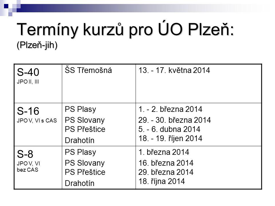 Termíny kurzů pro ÚO Plzeň: (Plzeň-jih) S-40 JPO II, III ŠS Třemošná13. - 17. května 2014 S-16 JPO V, VI s CAS PS Plasy PS Slovany PS Přeštice Drahotí