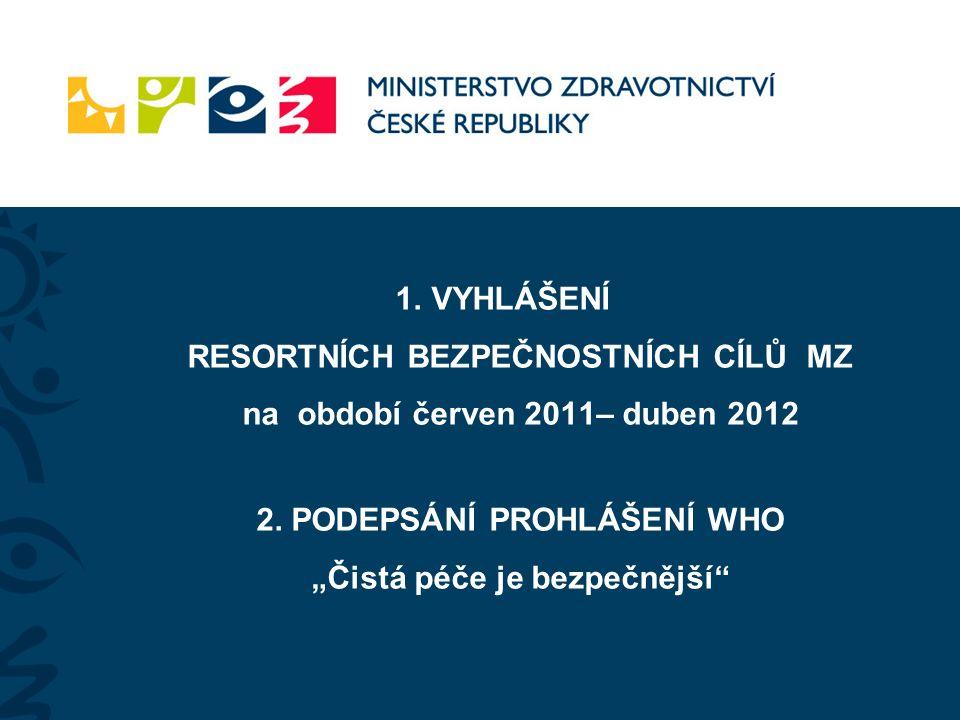 1.VYHLÁŠENÍ RESORTNÍCH BEZPEČNOSTNÍCH CÍLŮ MZ na období červen 2011– duben 2012 2.