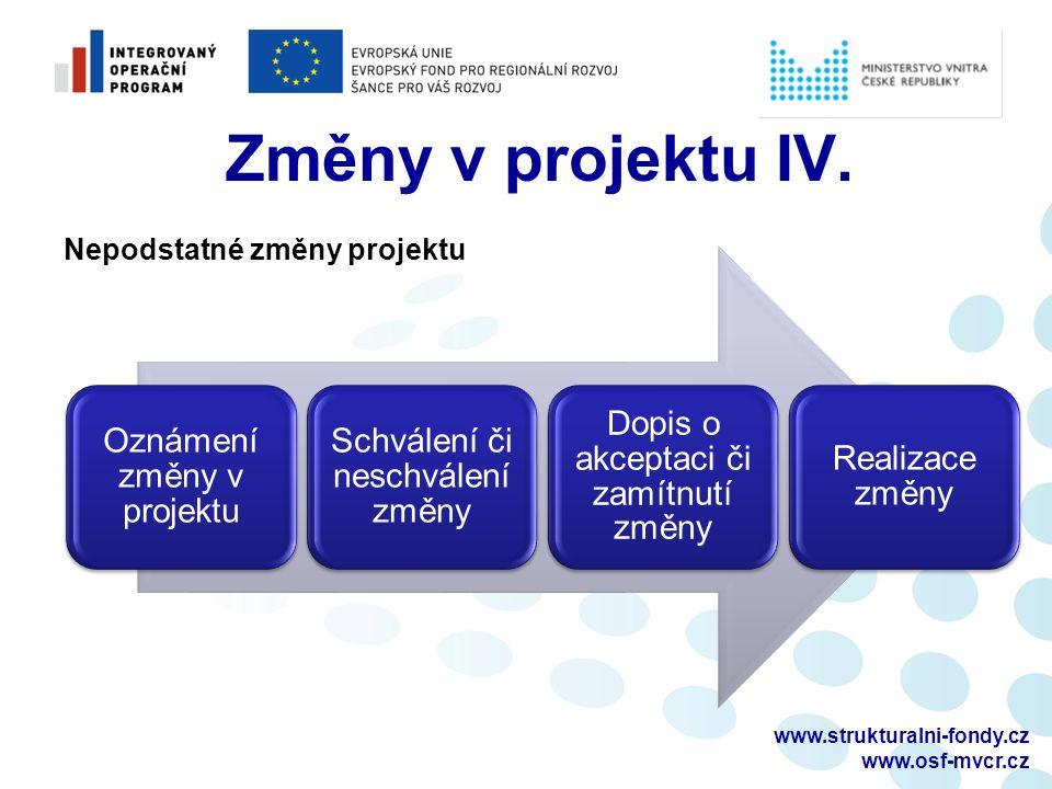 www.strukturalni-fondy.cz www.osf-mvcr.cz Změny v projektu IV.