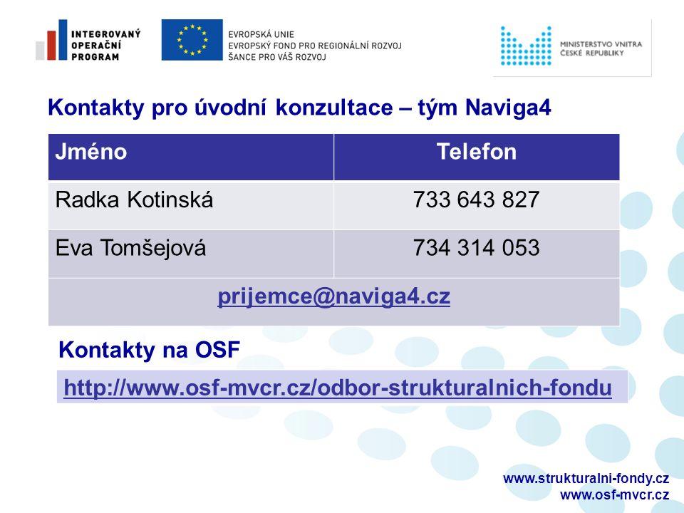 www.strukturalni-fondy.cz www.osf-mvcr.cz Kontakty pro úvodní konzultace – tým Naviga4 JménoTelefon Radka Kotinská733 643 827 Eva Tomšejová734 314 053 prijemce@naviga4.cz Kontakty na OSF http://www.osf-mvcr.cz/odbor-strukturalnich-fondu
