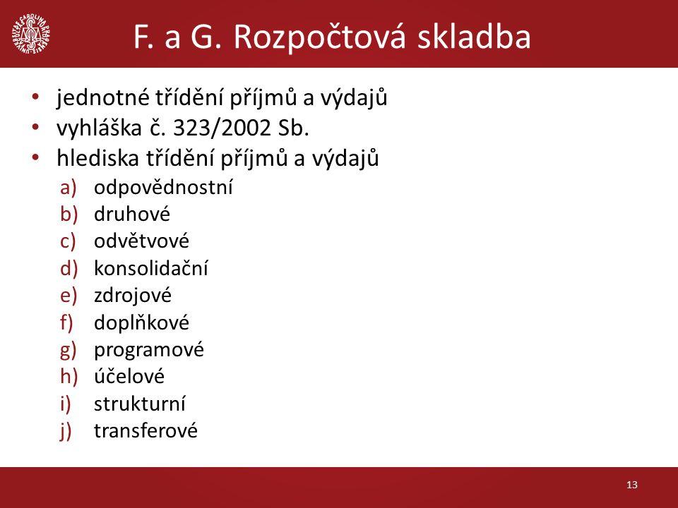 F. a G. Rozpočtová skladba jednotné třídění příjmů a výdajů vyhláška č.