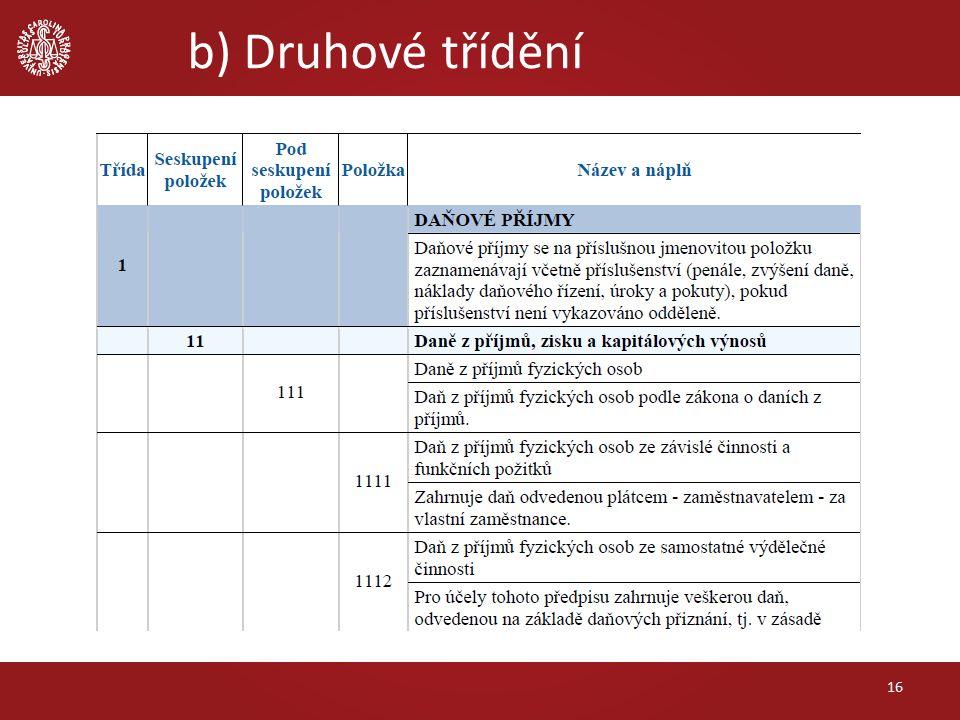 b) Druhové třídění 16