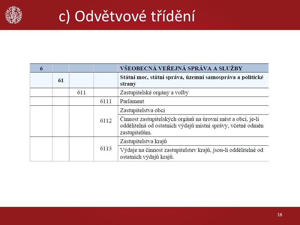 c) Odvětvové třídění 18