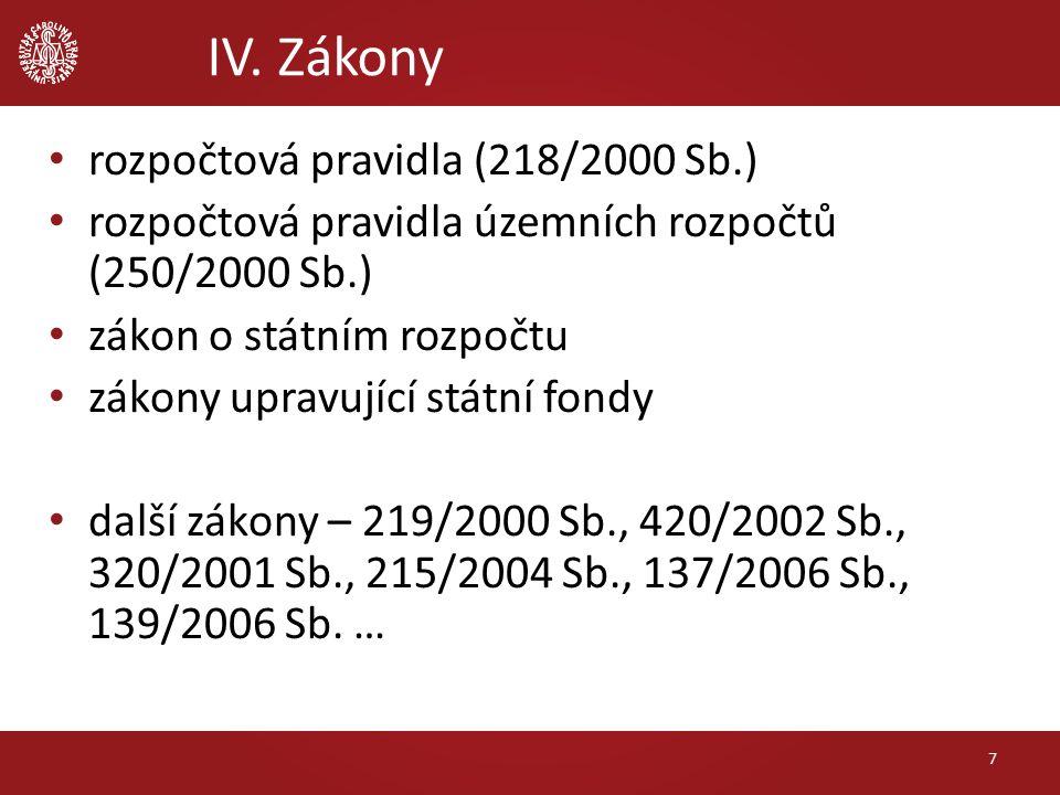 IV. Zákony rozpočtová pravidla (218/2000 Sb.) rozpočtová pravidla územních rozpočtů (250/2000 Sb.) zákon o státním rozpočtu zákony upravující státní f