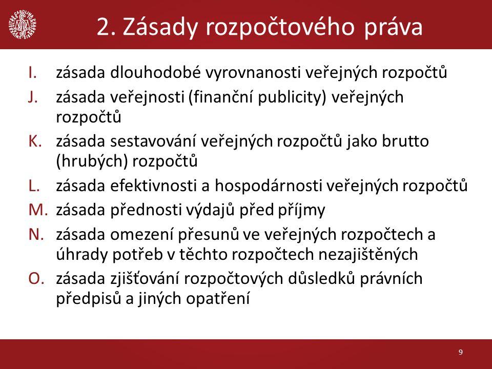 2. Zásady rozpočtového práva I.zásada dlouhodobé vyrovnanosti veřejných rozpočtů J.zásada veřejnosti (finanční publicity) veřejných rozpočtů K.zásada