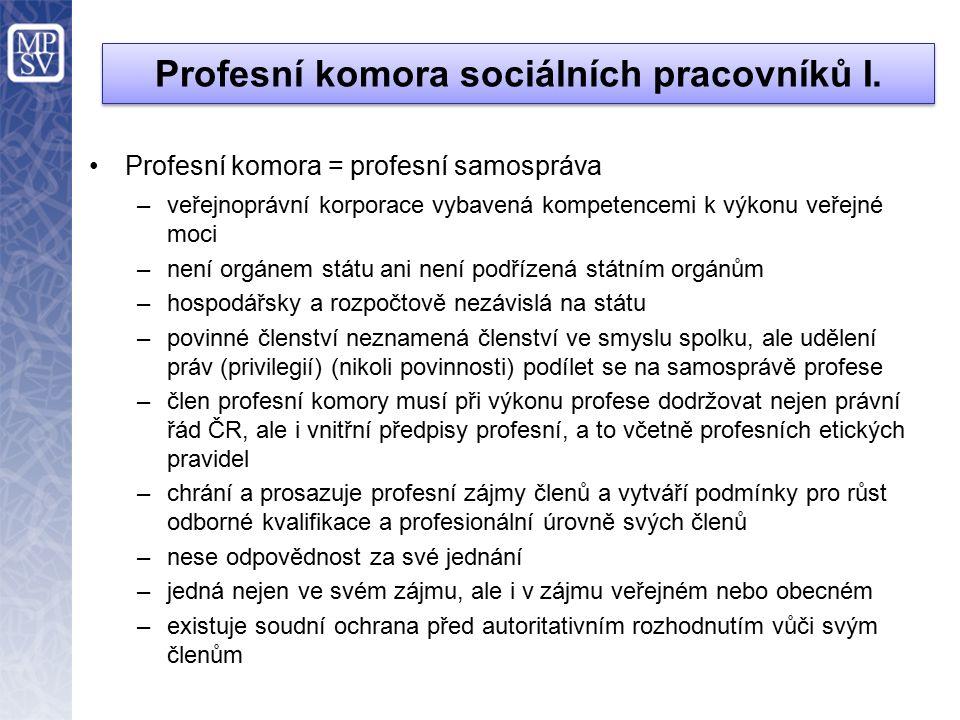 Profesní komora sociálních pracovníků I.
