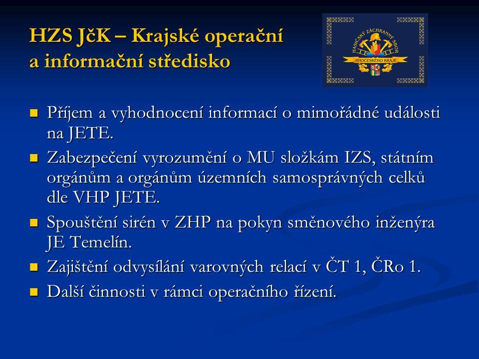 Příjem a vyhodnocení informací o mimořádné události na JETE.