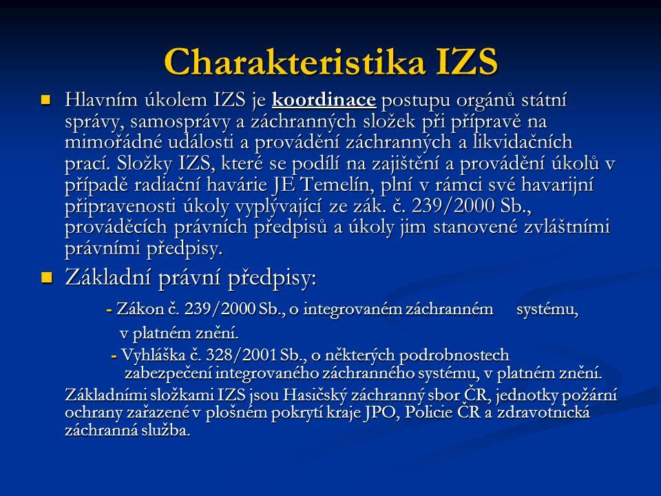 Charakteristika IZS Hlavním úkolem IZS je koordinace postupu orgánů státní správy, samosprávy a záchranných složek při přípravě na mimořádné události a provádění záchranných a likvidačních prací.
