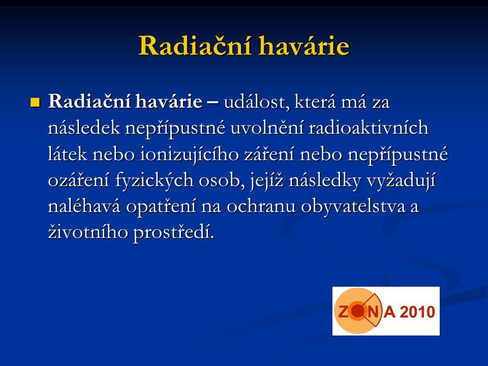 Radiační havárie Radiační havárie – událost, která má za následek nepřípustné uvolnění radioaktivních látek nebo ionizujícího záření nebo nepřípustné ozáření fyzických osob, jejíž následky vyžadují naléhavá opatření na ochranu obyvatelstva a životního prostředí.