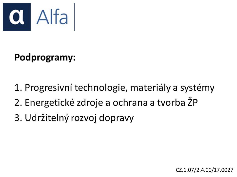 Podprogramy: 1. Progresivní technologie, materiály a systémy 2.