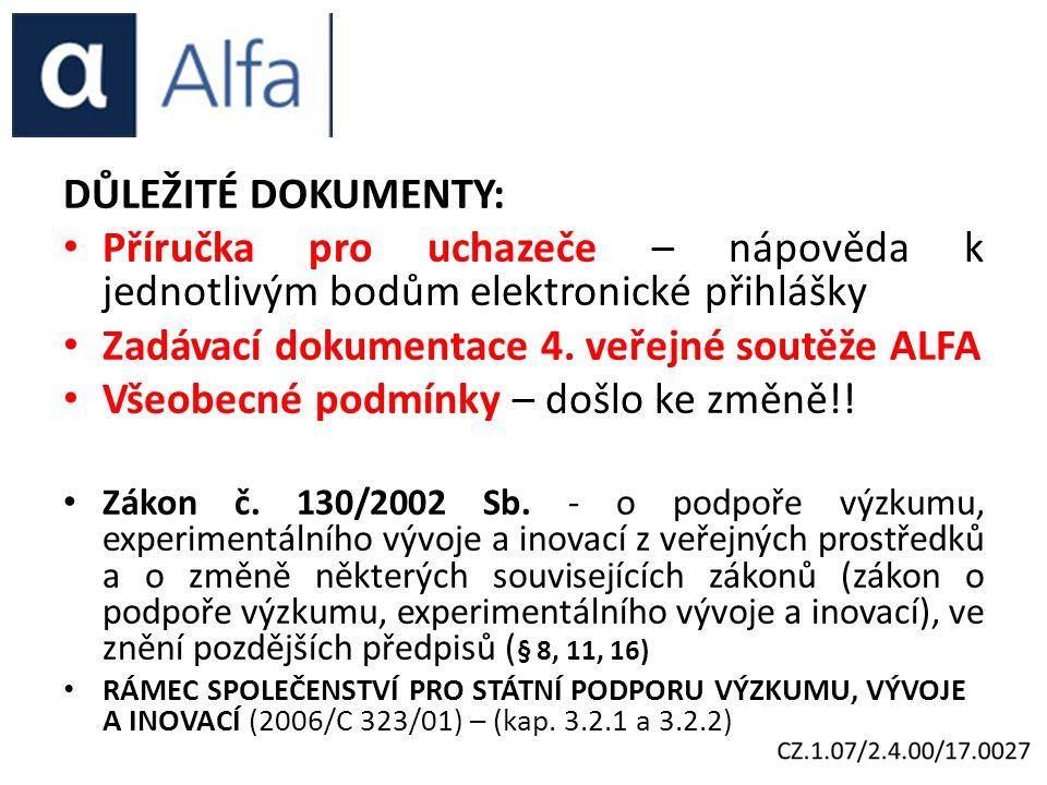 DŮLEŽITÉ DOKUMENTY: Příručka pro uchazeče – nápověda k jednotlivým bodům elektronické přihlášky Zadávací dokumentace 4.