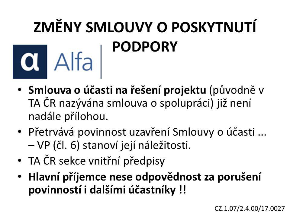 ZMĚNY SMLOUVY O POSKYTNUTÍ PODPORY Smlouva o účasti na řešení projektu (původně v TA ČR nazývána smlouva o spolupráci) již není nadále přílohou.