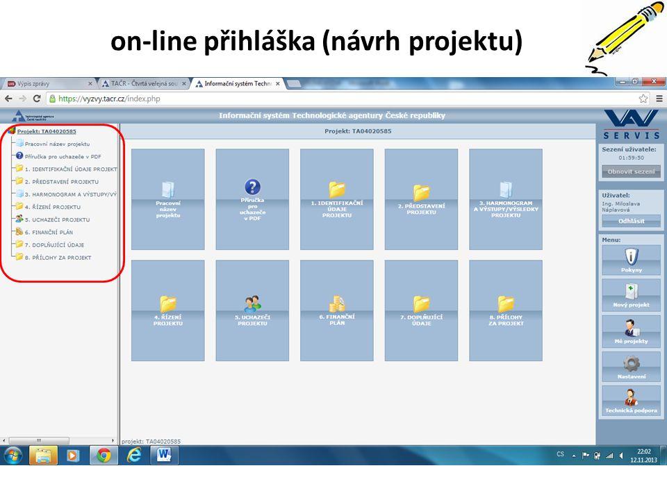 on-line přihláška (návrh projektu)