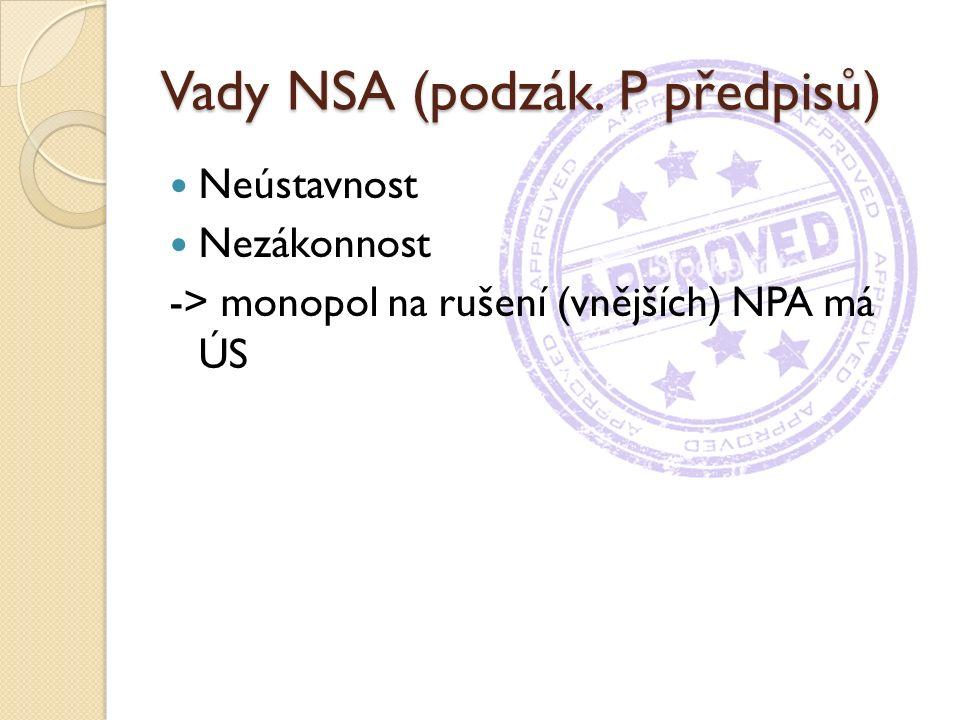 Vady NSA (podzák. P předpisů) Neústavnost Nezákonnost -> monopol na rušení (vnějších) NPA má ÚS