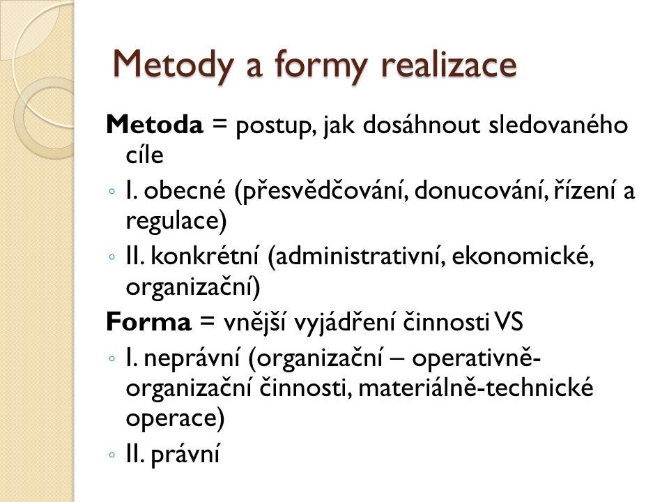Metody a formy realizace Metoda = postup, jak dosáhnout sledovaného cíle ◦ I.