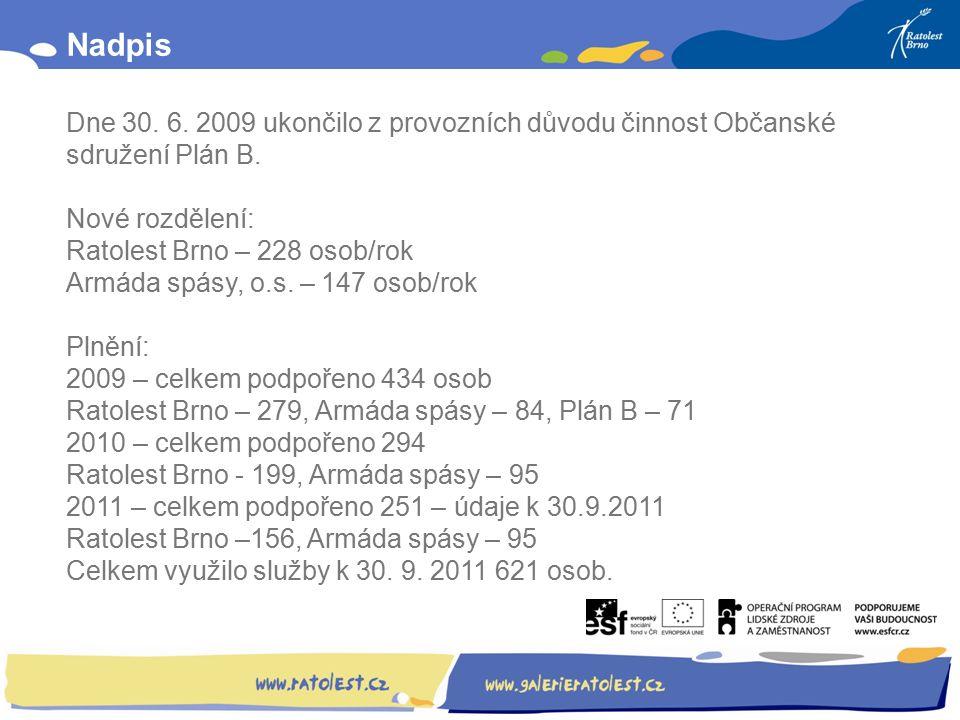 Obsah: Nadpis Dne 30. 6. 2009 ukončilo z provozních důvodu činnost Občanské sdružení Plán B.