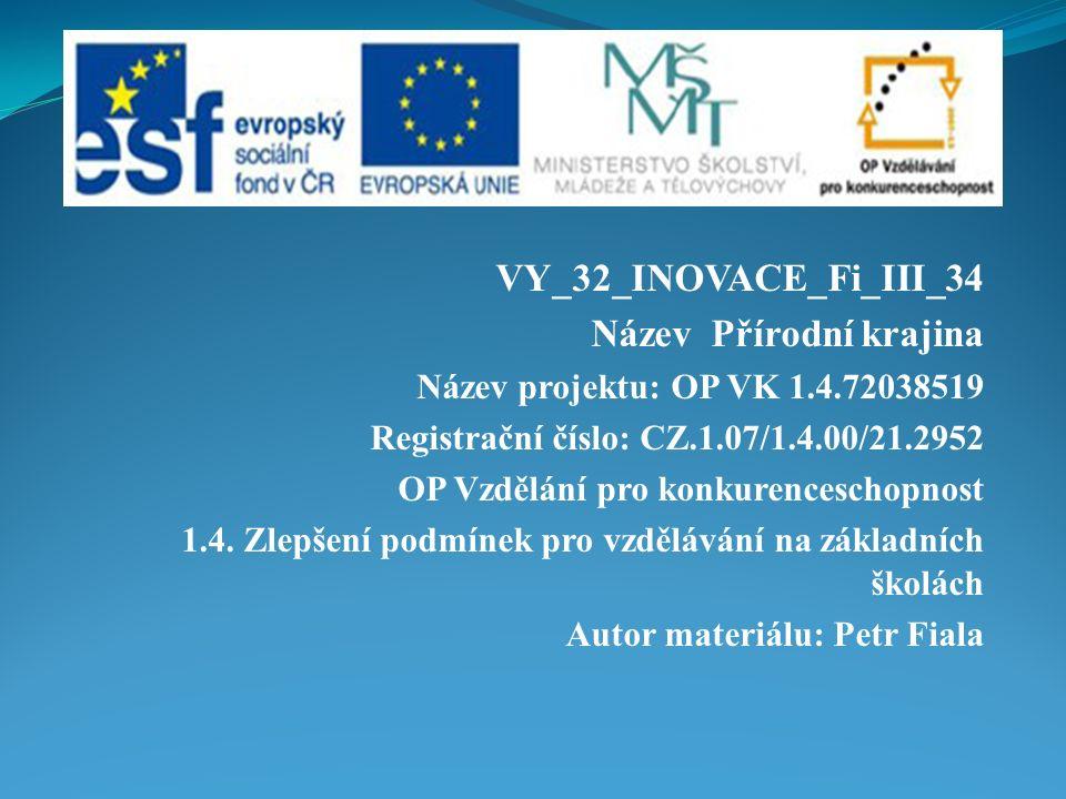 VY_32_INOVACE_Fi_III_34 Název Přírodní krajina Název projektu: OP VK 1.4.72038519 Registrační číslo: CZ.1.07/1.4.00/21.2952 OP Vzdělání pro konkurenceschopnost 1.4.