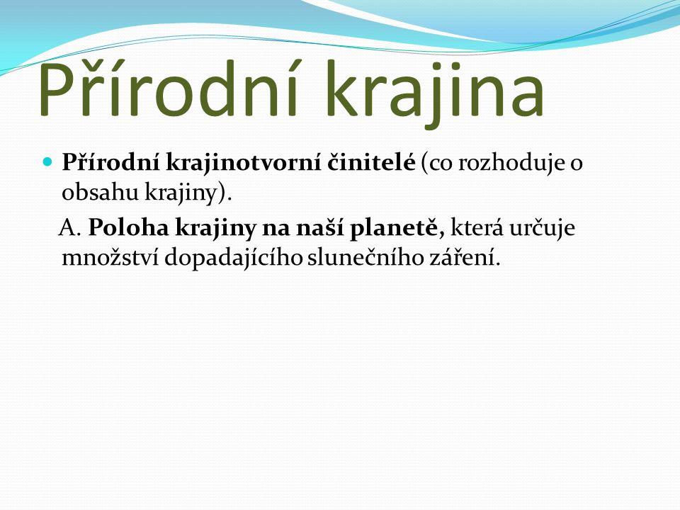 Přírodní krajina Přírodní krajinotvorní činitelé (co rozhoduje o obsahu krajiny).