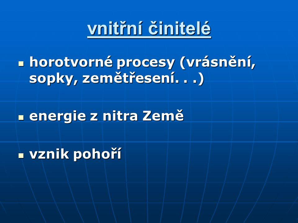 vnitřní činitelé horotvorné procesy (vrásnění, sopky, zemětřesení...) horotvorné procesy (vrásnění, sopky, zemětřesení...) energie z nitra Země energie z nitra Země vznik pohoří vznik pohoří