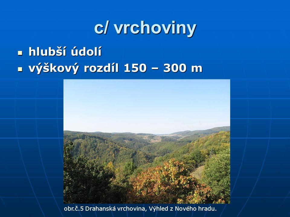c/ vrchoviny hlubší údolí hlubší údolí výškový rozdíl 150 – 300 m výškový rozdíl 150 – 300 m obr.č.5 Drahanská vrchovina, Výhled z Nového hradu.