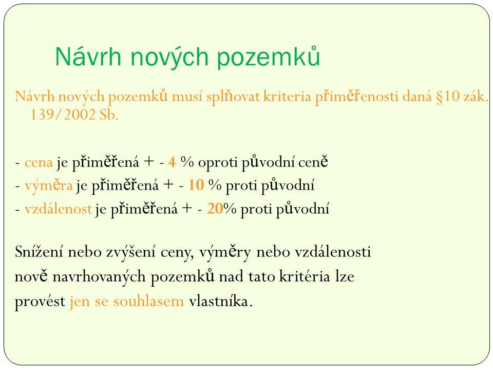 Návrh nových pozemků Návrh nových pozemk ů musí spl ň ovat kriteria p ř im ěř enosti daná §10 zák.