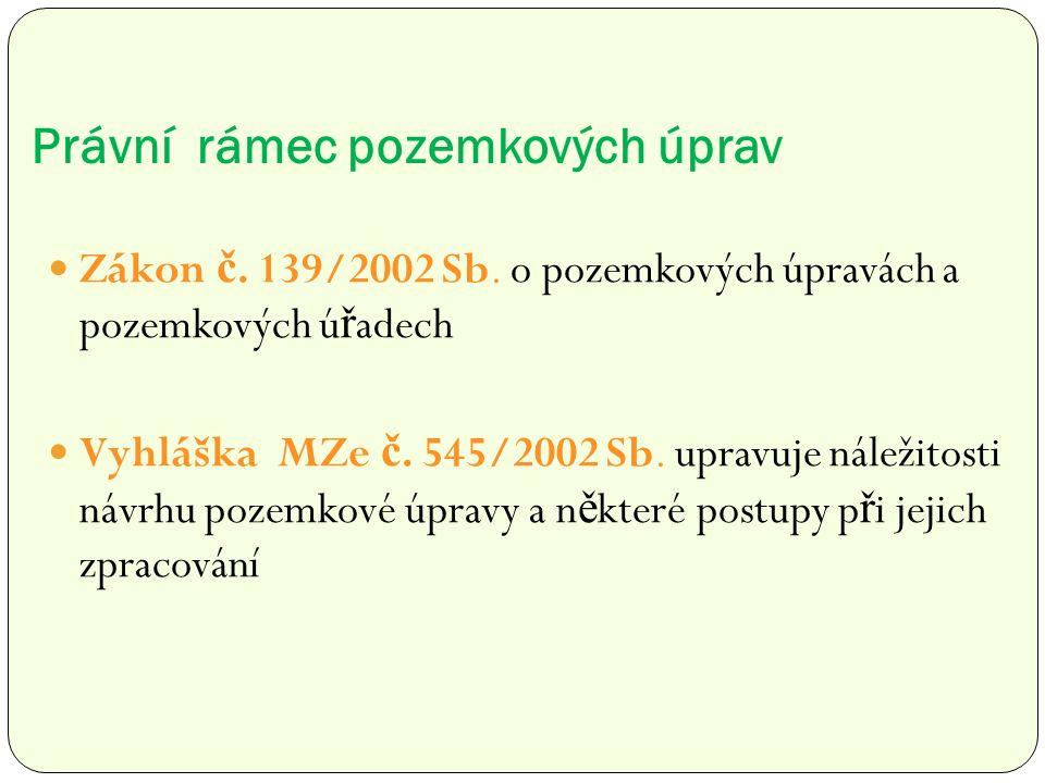 Právní rámec pozemkových úprav Zákon č. 139/2002 Sb.