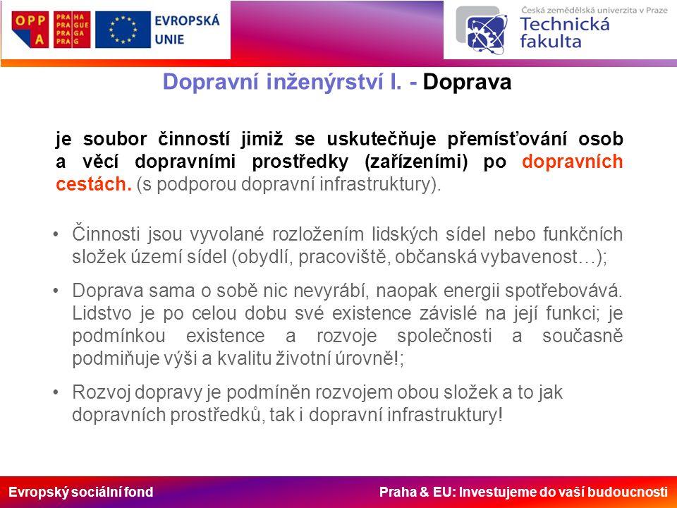 Evropský sociální fond Praha & EU: Investujeme do vaší budoucnosti Činnosti jsou vyvolané rozložením lidských sídel nebo funkčních složek území sídel (obydlí, pracoviště, občanská vybavenost…); Doprava sama o sobě nic nevyrábí, naopak energii spotřebovává.