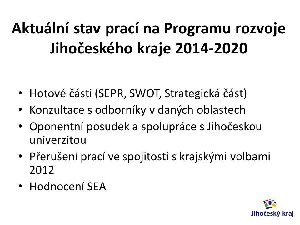 Aktuální stav prací na Programu rozvoje Jihočeského kraje 2014-2020 Hotové části (SEPR, SWOT, Strategická část) Konzultace s odborníky v daných oblastech Oponentní posudek a spolupráce s Jihočeskou univerzitou Přerušení prací ve spojitosti s krajskými volbami 2012 Hodnocení SEA