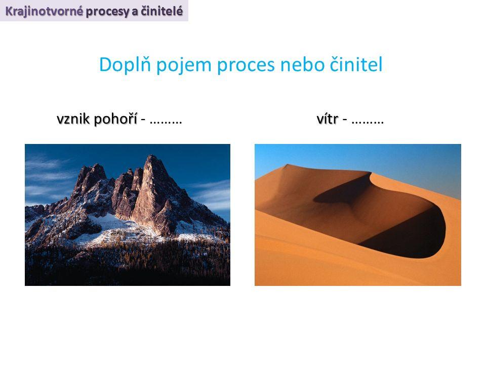 Krajinotvorné procesy a činitelé Doplň pojem proces nebo činitel vznik pohoří vznik pohoří - ……… vítr vítr - ………