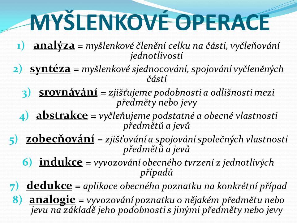 MYŠLENKOVÉ OPERACE 1) analýza = myšlenkové členění celku na části, vyčleňování jednotlivostí 2) syntéza = myšlenkové sjednocování, spojování vyčleněný